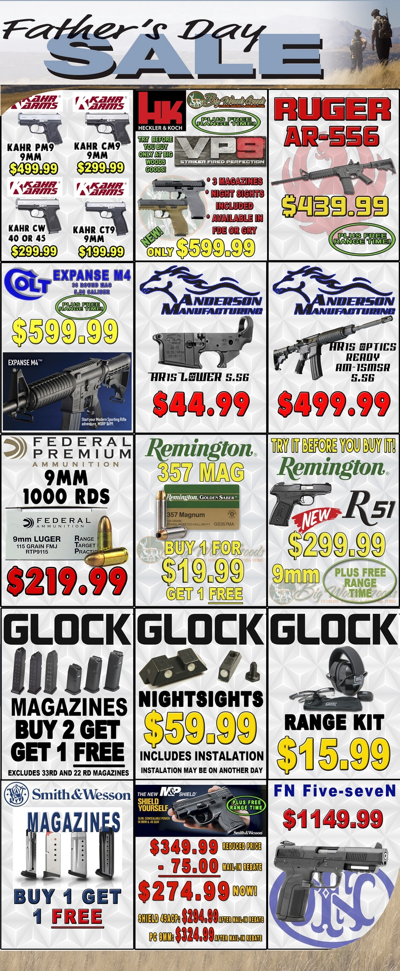 Fathers Day Specials on selected Kahr, HK, Ruger, Colt, Anderson Manufacturing, Glock, FN, Smith and Wesson products, and 9mm Federal and .357 magnum Remington ammunition