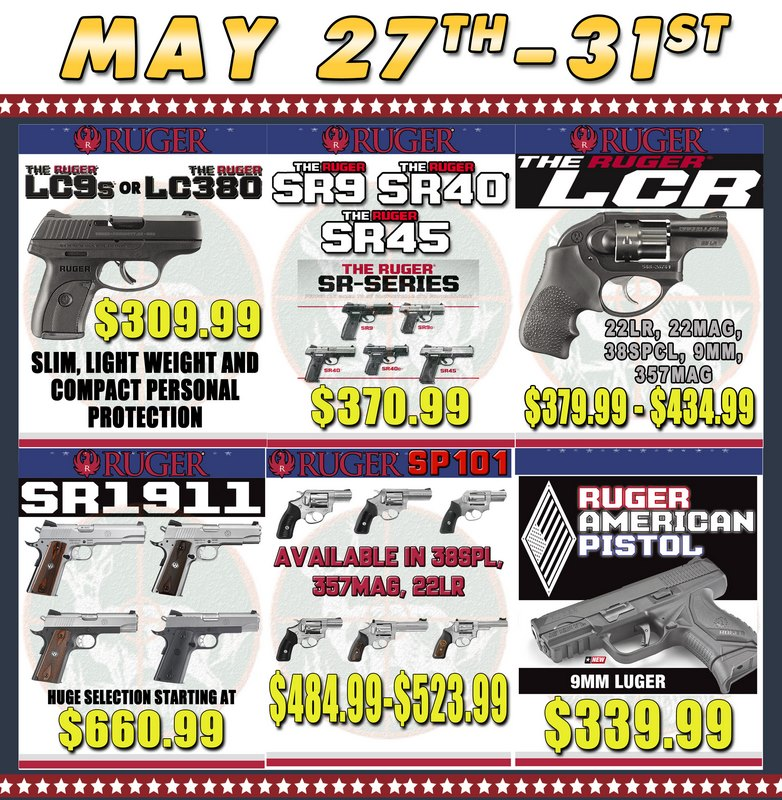 Ruger firearms - 2017 Memorial Day Sale at Big Woods Goods