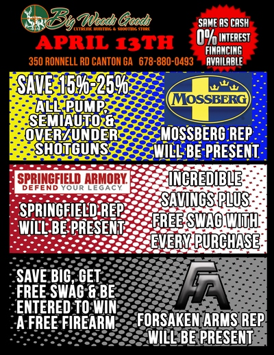 Mossberg, Springfield Armory, Forsaken Arms - Sale - April 13