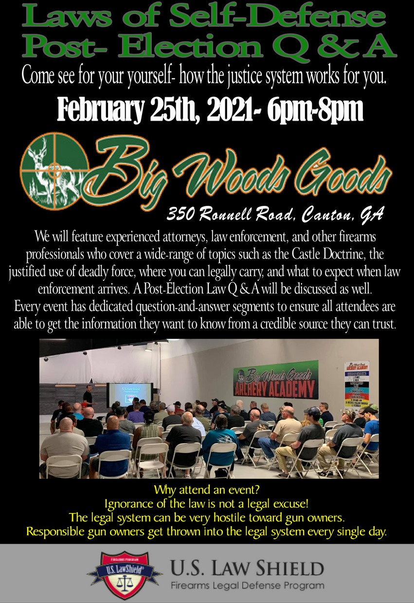 Gun Law Seminar at Big Woods Goods, Canton, GA